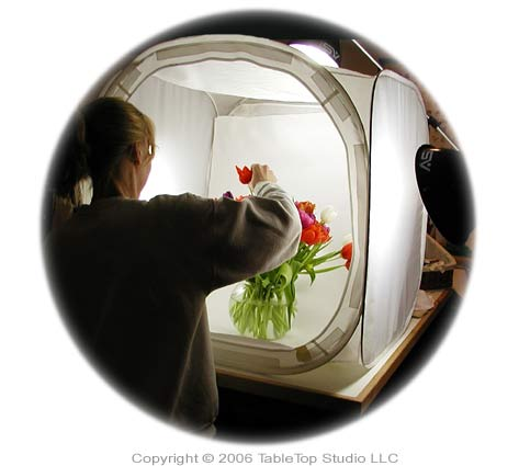 Many florists rely on an EZcube to shoot photos of arrangements.